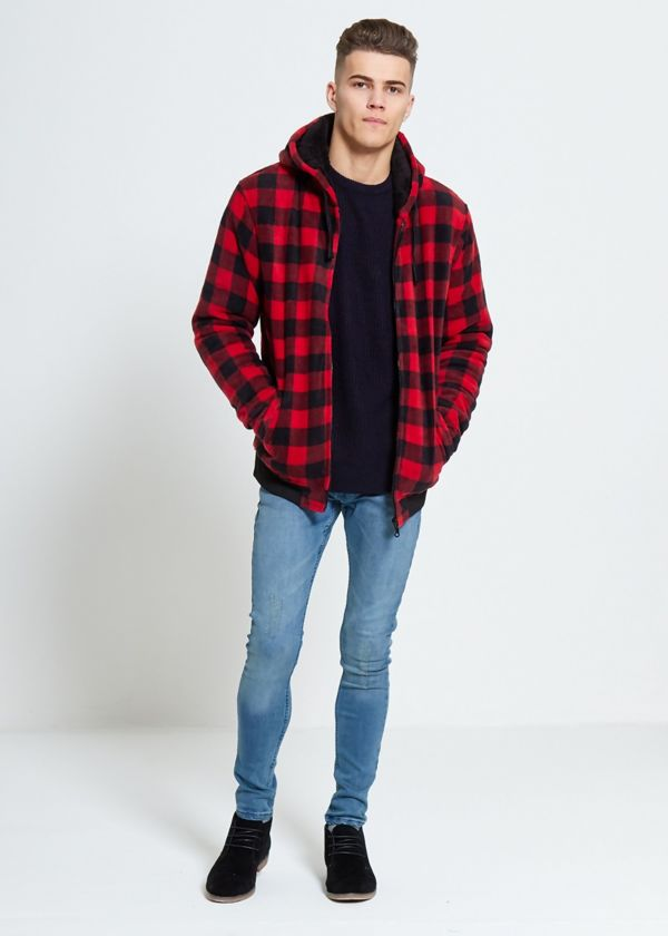 Red Checked Fleece Hood Jacket