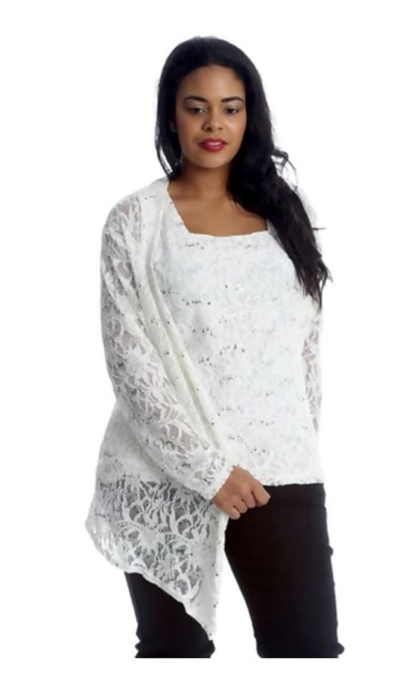 Plus Size Cream Sequin Two piece Cami and Cardigan Set