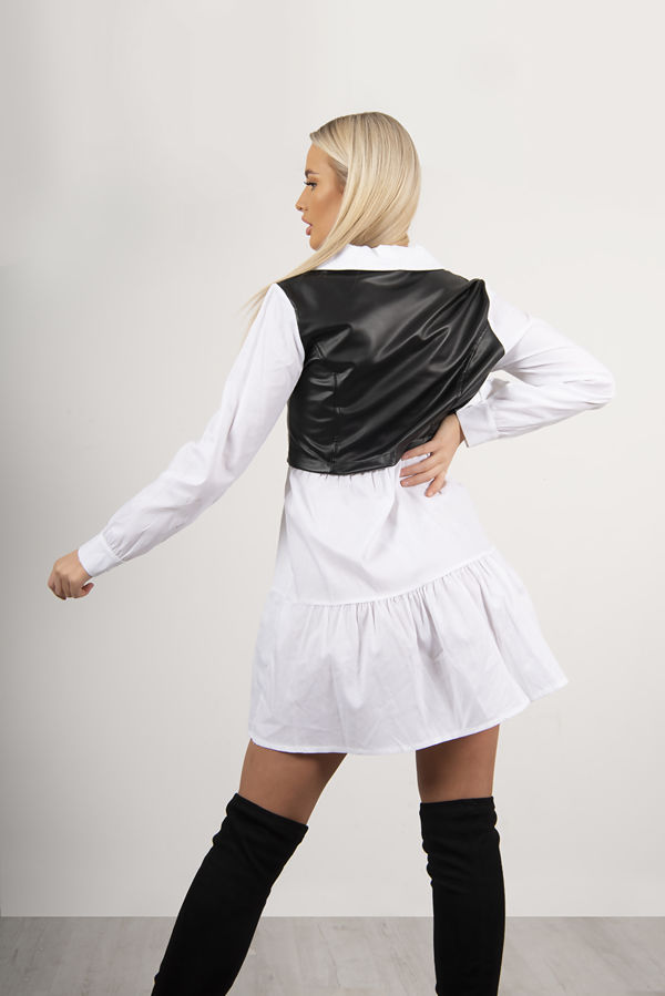 White Faux Leather Overlay Smock Dress