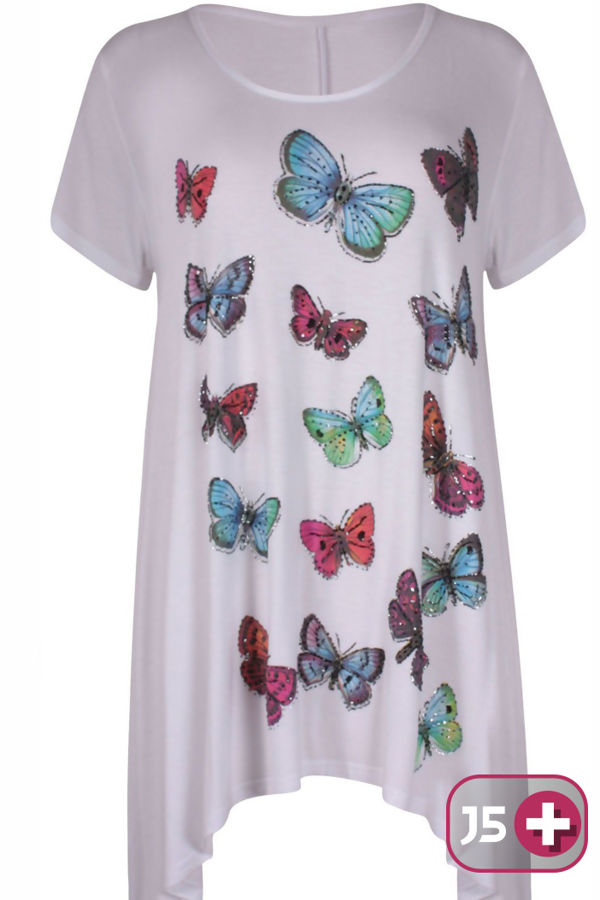 Plus Size White Butterfly Printed Asymmetry Top