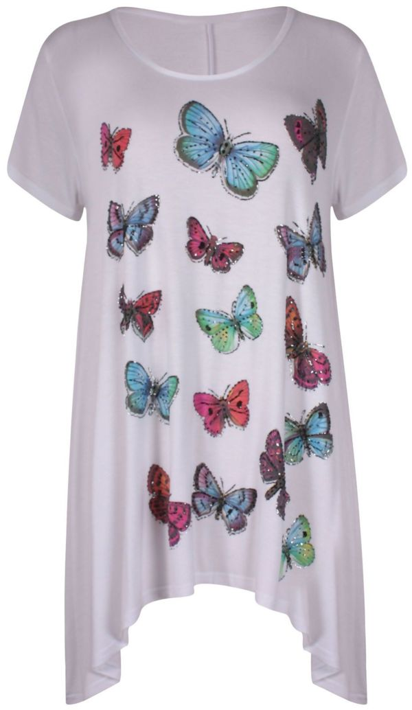 Plus Size Green Butterfly Printed Asymmetry Top