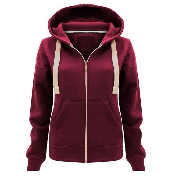 Plus Size Unisex Red Plain Hoodie