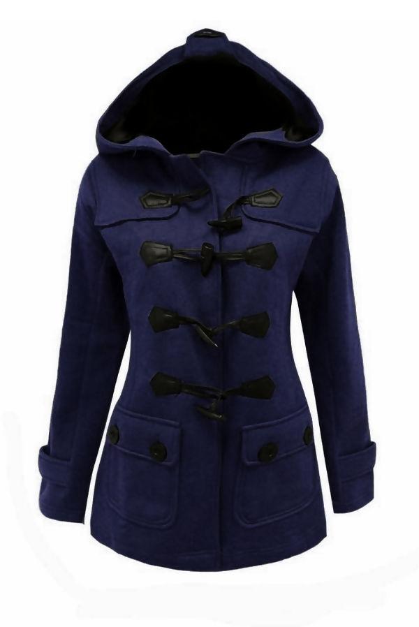 Navy Fleece Hooded Toggle Jacket