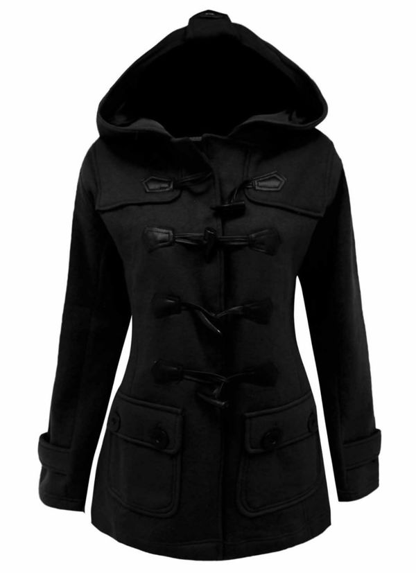 Plus Size Charcoal Fleece Hooded Toggle Jacket