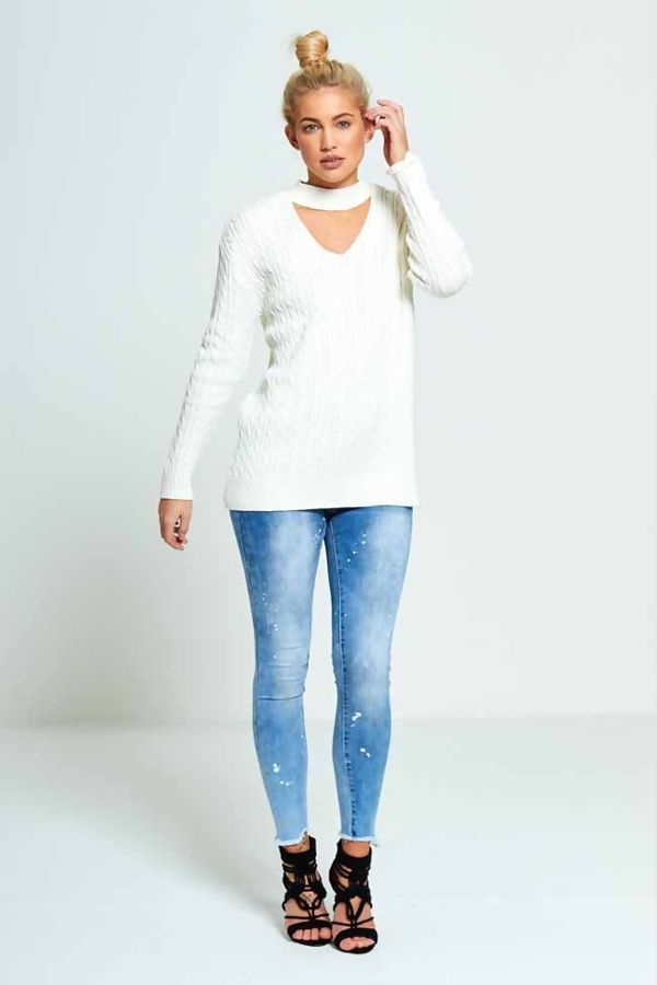 White Plus Size Choker Neck Knitted Jumper