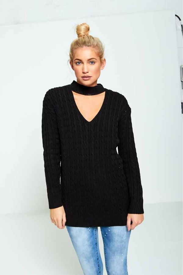 Black Plus Size Choker Neck Knitted Jumper