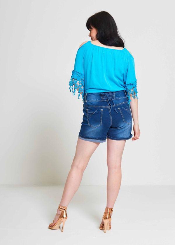 Plus Size Denim Three Button Shorts