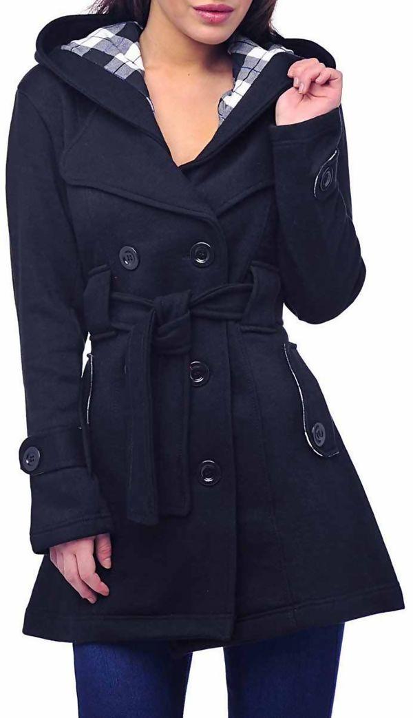 Double Plus Size Dark Drey Double Breast Coat