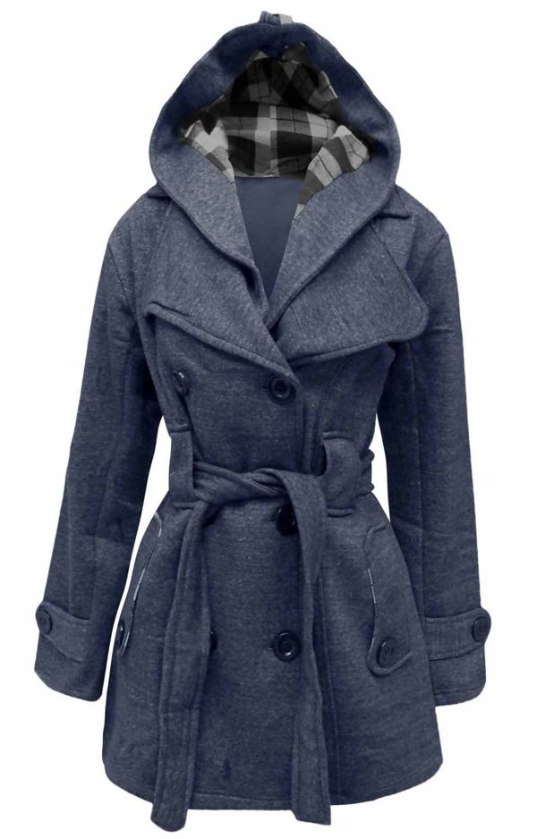 Plus Size Navy Double Breast Coat