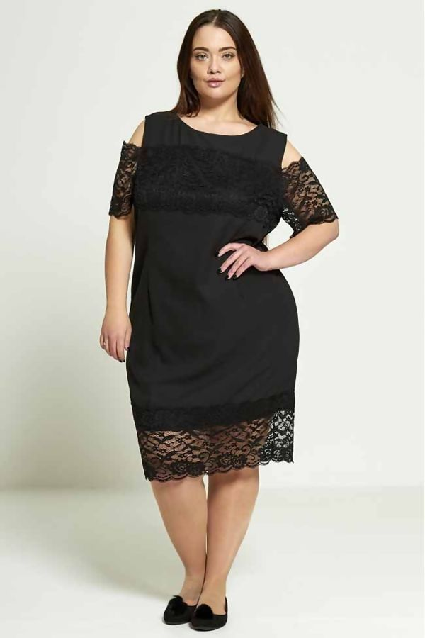 Coral Plus Size Lace Detail Dress