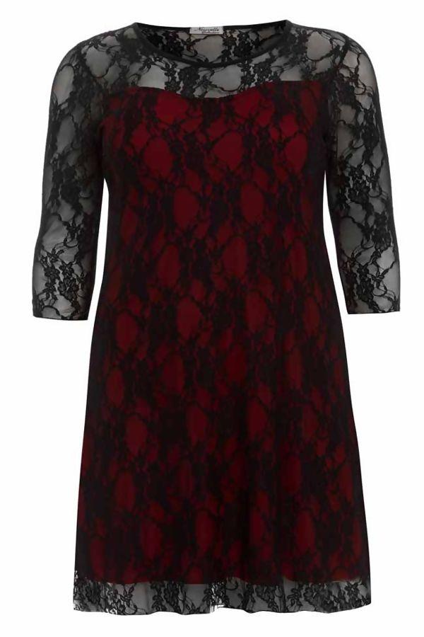 Purple Plus Size Lace Mesh Overlay Dress