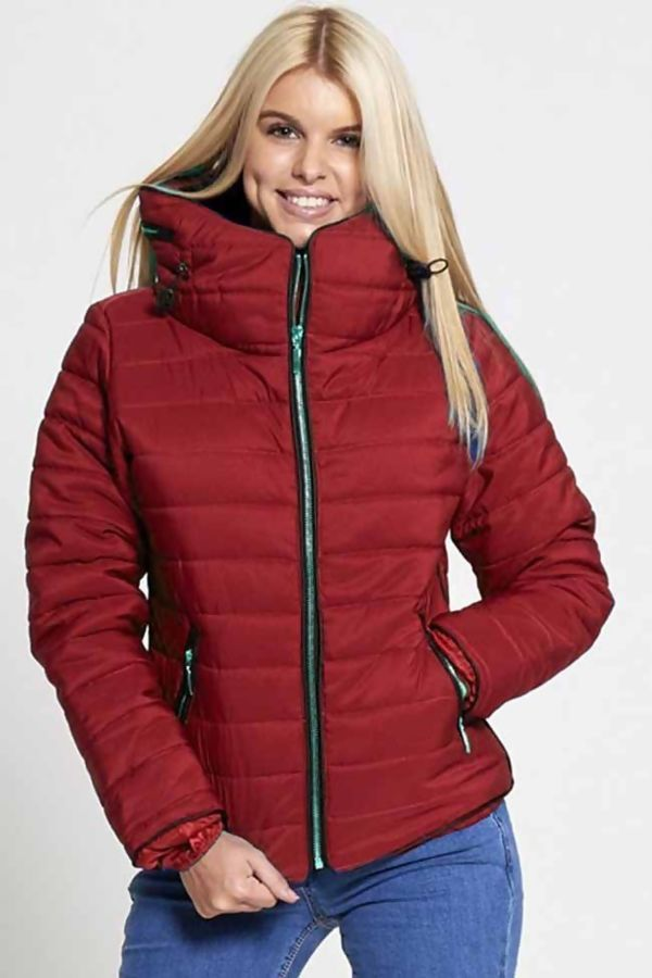 baf780f9d67 Plus Size Red Quilted Padded Bubble Puffer Fur Collar Jacket